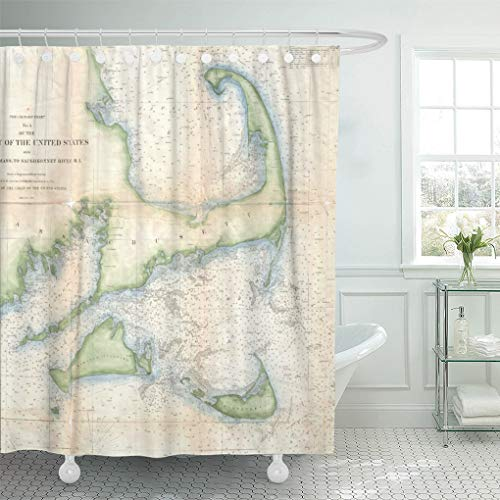 Semtomn Shower Curtain Old Vintage Map of Cape Cod Historical Coastal Retro 72