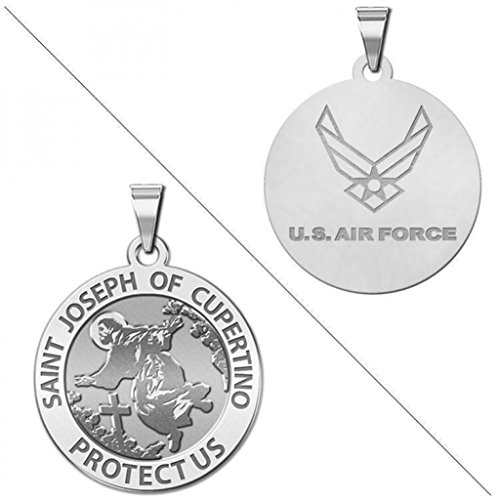 rtino Doubledside AIR FORCE Religious Medal 1 Inch Solid 14K White Gold ()