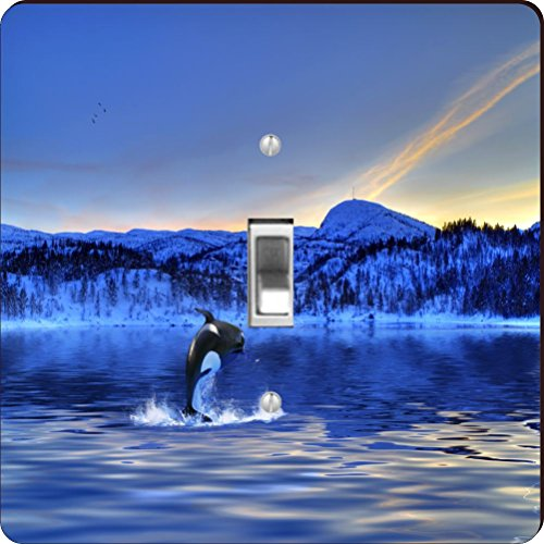 Killer Whale Light Switchplate (Rikki Knight RK-LSPS-44647 Killer Whale Jumping on Blue Sunset Design Light Switch Plate Cover)
