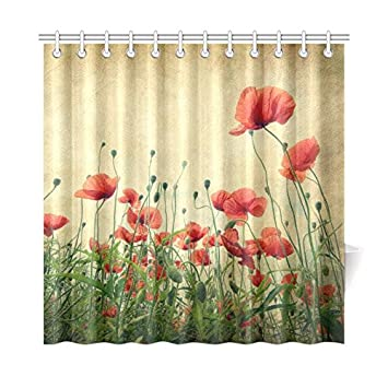 """Free Shipping 72/"""" x 72/"""" Decor.. Vintage Red Poppy Floral Fabric Shower Curtain"""
