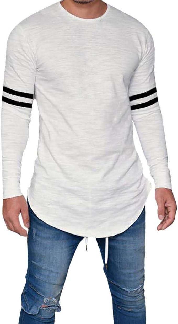 Camiseta Hombre CóModo Rayas Hombres Blusa Y Polos Mangas Largas ...