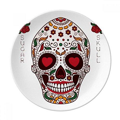 Cirrus Plate - Flower Cirrus Eyes White Sugar Skull Dessert Plate Decorative Porcelain 8 inch Dinner Home
