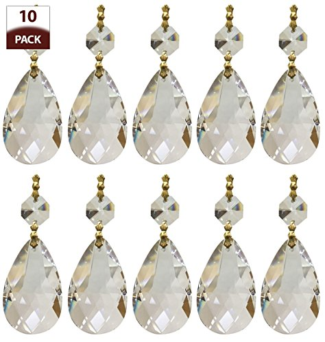 ement Chandelier Crystal Prism Clear K9 Quality Tear Drop Almond Cut with Polished Brass Connectors and 2 Octogan Crystal Bead Pack of 10 (Royal Replacement)