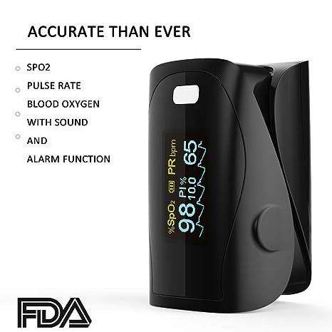 Oxímetro de sangre, Oxímetro de pulso para dedo - PRCMISEMED Pro Series F9 Oxímetro de pulso para dedo Oxímetro de oxígeno para sangre con cordón
