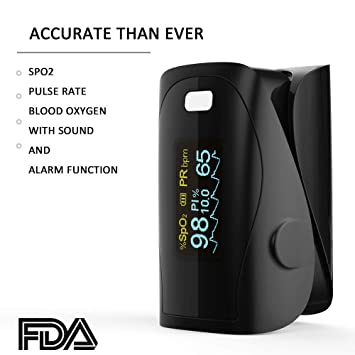 Oxímetro de sangre, Oxímetro de pulso para dedo - PRCMISEMED Pro Series F9 Oxímetro de pulso para dedo Oxímetro de oxígeno para sangre con cordón: ...