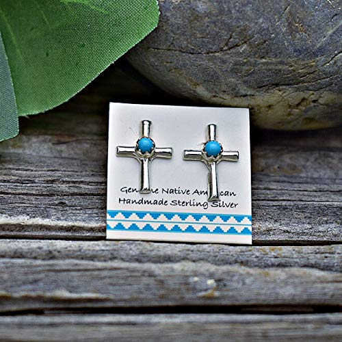 (Genuine Sleeping Beauty Turquoise Cross Stud Earrings in 925 Sterling Silver, Nickle Free for Sensitive Skin, Baptism, Christian Religious )