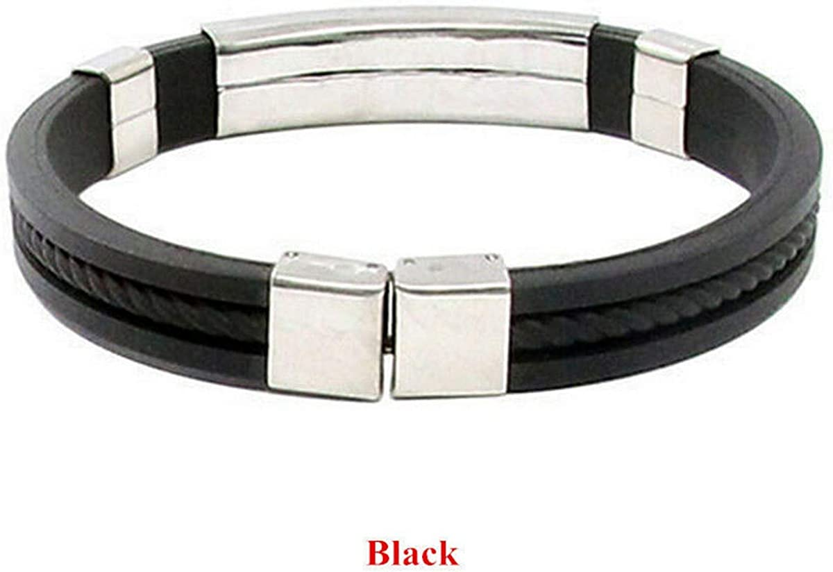 Brosco Mens Womens Attractive Stainless Steel Rubber Wristband Bangle Clasp Bracelet Popular Fashion Best Accesories Jewerly Bangles | Color - Black