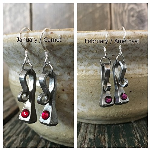 - Horseshoe Nail Equestrian Swarovski Crystal Birthstone Earrings