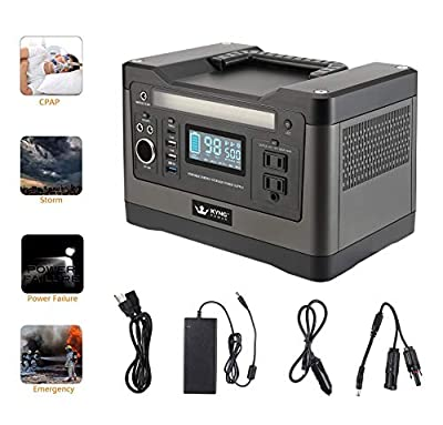 Kyng Power Solar Generator Portable Power Station 540Wh 1000w Peak UPS Lithium Battery Back Up Power Supply Emergency, CPAP, Outdoors, Camping Silent Generator Rechargeable Inverter, 4 USB, AC Outlet