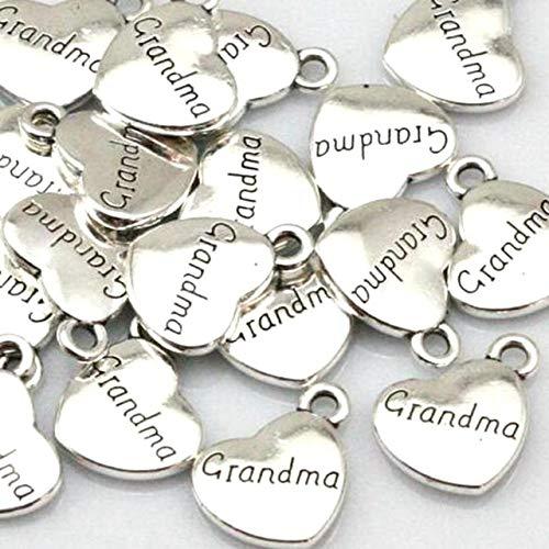3e9b60612 Davitu Family theme Heart Charms Vintage Silver Dad Mom Son Daughter  Grandpa Aunt Sister Brother Pendant