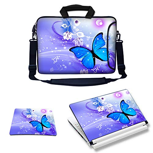 Meffort Inc Laptop Bundle Deal - Includes Neoprene Laptop Bag with Side Pocket Adjust Shoulder Strap with Matching Skin Sticker Decal & Mouse Pad (17.3 Inch, Blue Purple Butterfly)