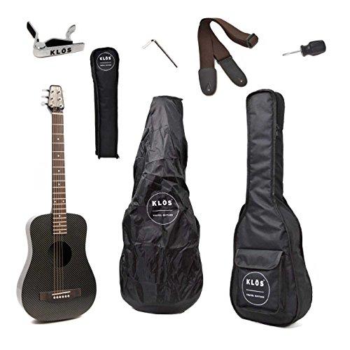 KLOS Black Carbon Fiber Travel Acoustic Guitar Package (Guitar, Gig Bag, Strap, Capo, and more) - Carbon Fiber Acoustic