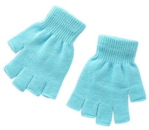 - X&F Boys' and Girls' Solid Knitted Half Finger Mittens Typing Gloves, Small, Sky Blue