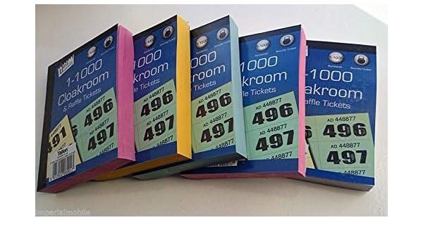 6x Libros de lavabo y Rifa Tickets - 1 -1000 Tómbola Draw numerado CARIDAD Events PRECIO Draw suerte Draw: Amazon.es: Oficina y papelería