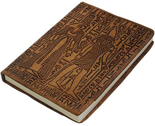 - 6x8 Unlined Egyptian Men Leather Journal Diary Notebook - Crafkart Handmade Leather Art Journal Sketchbooks And Notebooks Embossed Leather Egyptian Men Journal - Brown