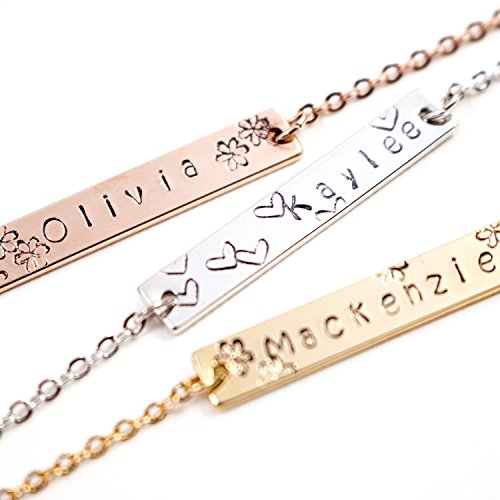 e3f8b8ce73be6b Amazon.com: A Your name bar necklace Personalized 100% Handmade customized  Plate Delicate Initial Hand Stamp Charms Necklace Mother's day and  Christmas ...