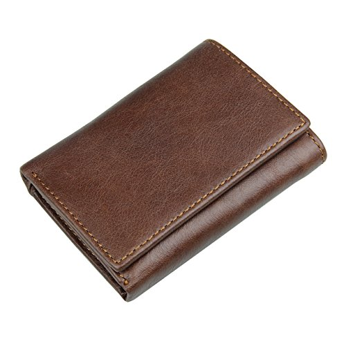Itslife Men's RFID Blocking Leather Trifold Wallet with Back Coin Pocket (Coffee with Back Card Slot)