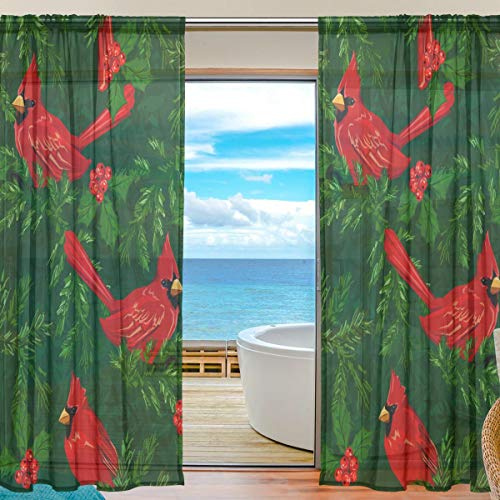 My Little Nest Sheer Window Curtains Drapes Red Cardinal Bird Decorative Window Treatments 55x78 Inch for Bedroom Living Room 2 Panels