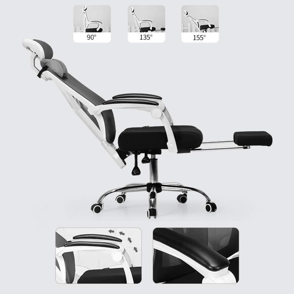 Xiuyun kontorsstol spelstol svängbar stol, nät hög rygg datorskrivbord uppgift ergonomisk verkställande stol med utdragbar fotstöd och justerbart nackstöd (färg: svart) Svart