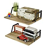 RooLee Floating Shelves Wall Mounted Set of 2 Rustic Wood Shelves with Large Capacity