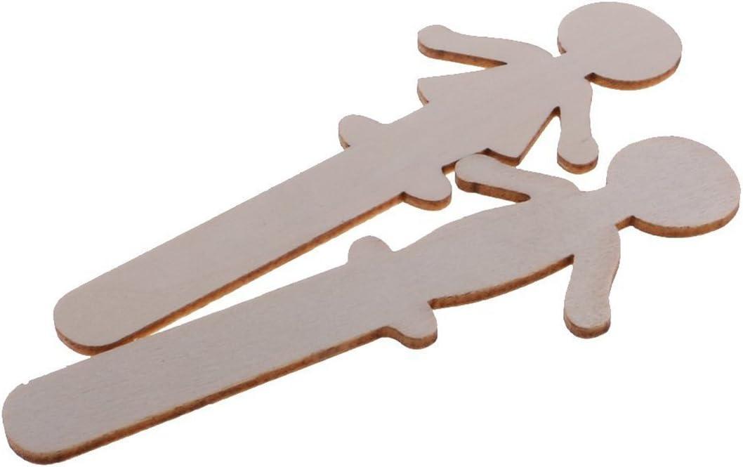 SUPVOX 32pcs Personnes en Forme de g/âteau Artisanat Colle DIY en Bois g/âteau Toppers Auto Peinture Bois avec Pinceau Pigment pour la d/écoration de g/âteau