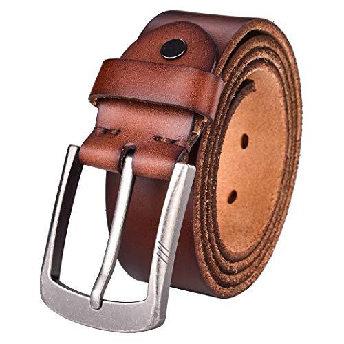 (Alice & Elmer Men's Belt Genuine Full Grain Leather Belts For Men Jeans Dress Casual Work Heavy Duty (Waist :40'', Washed Tan))