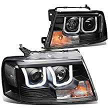 Ford F150 Pair of Black Housing Clear Corner 3D LED U-Halo DRL Projector Headlights