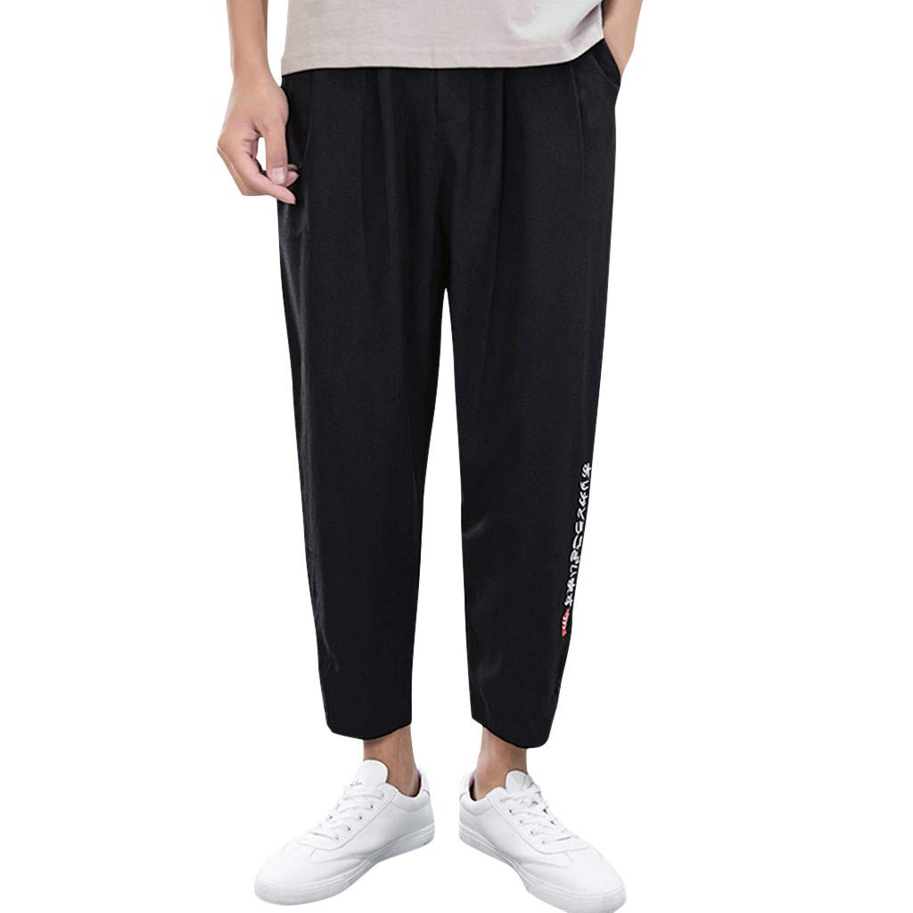 Vicbovo Clearance Mens Casual Baggy Pants Cotton Linen Loose Pants Summer Yoga Jogger Pants Trousers Ankle-Length (Black, XXXXL)