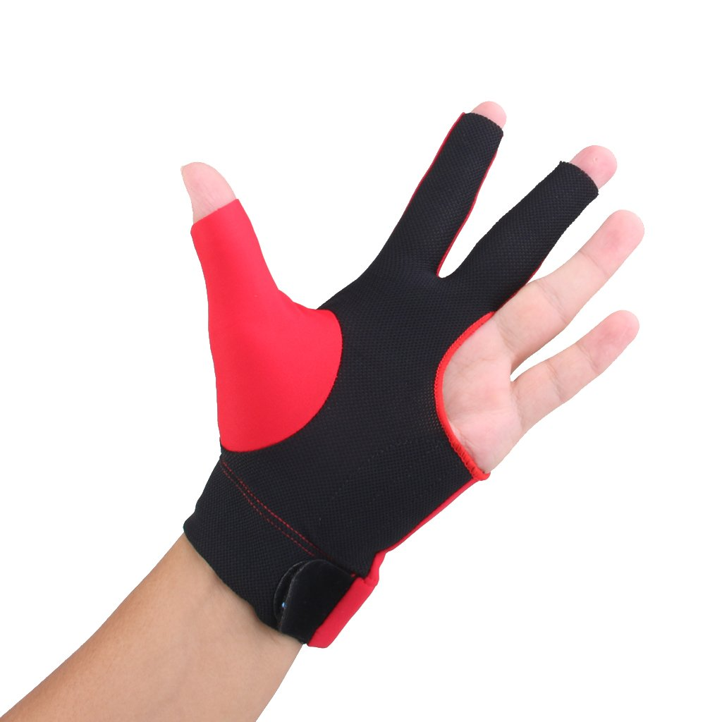 Homyl Spandex Snooker Billiard Cue Glove Pool Left Hand Three Finger Accessory 2 Colors Blue and Black