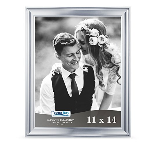 Icona Bay 11x14 Picture Frame (1 Pack, Silver), Silver Photo Frame 11 x 14, Wall Mount or Table Top, Set of 1 Elegante Collection