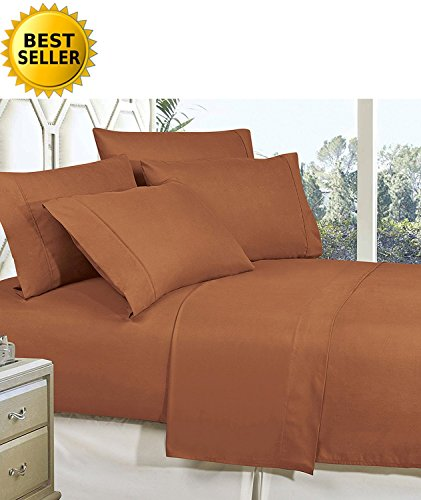 (Celine Linen Best, Softest, Coziest Bed Sheets Ever! 1800 Thread Count Egyptian Quality Wrinkle-Resistant 4-Piece Sheet Set with Deep Pockets 100% Hypoallergenic, Queen Mocha Chocolate)