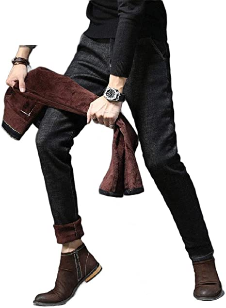 cheelot Men's Thicken Stretch Fall Winter Thermal Relaxed Denim Skinny Jeans