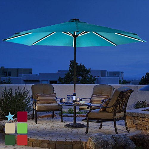- Patio 9 ft Solar Powered LED Lighted Outdoor Umbrella Table Market Umbrella with Crank Handle, with USB Charger for iPhone, iPad, and other Smart Devices, 8 Aluminium Ribs, Polyester Canopy(Blue)