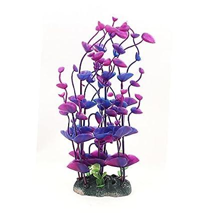 eDealMax plástico de agua del acuario plantas pétalo púrpura Altura 8.7Inch