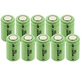 10x Exell 1/2AA Size 1.2V 500mAh NiMH Rechargeable Flat Top Batteries for use with cameras camcorders mobile phones pagers medical instruments/equipment high power static applications FAST USA SHIP