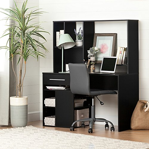 South Shore Annexe Pure Black Desk & Gray Office Chair with Quilted Seat