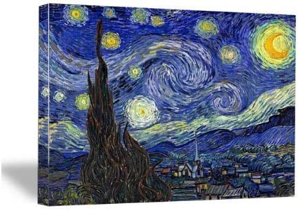 Wieco Art Starry Night Canvas Print of Van Gogh Oil Paintings Reproduction Modern Canvas Print Artwork Abstract Landscape Pictures Printed on Canvas Wall Art