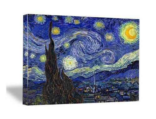 Print Starry Poster Night (Wieco Art Starry Night by Van Gogh Famous Oil Paintings Reproduction Modern Giclee Canvas Prints Artwork Abstract Landscape Pictures Printed on Canvas Wall Art for Home Office Decorations)