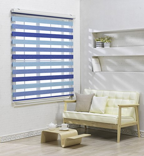 Foiresoft Custom Cut to Size, [Winsharp Combi Grace, Blue, W 79 x H 64 (Inch)] Roller Zebra Fabric Shade Horizontal Window Blinds & Treatments, Maximum 91 Inch Wide by 103 Inch Long