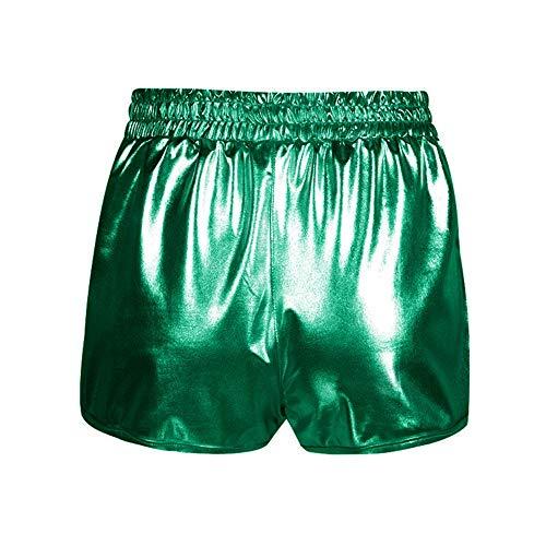 d7e06990c4682 ... FarJing Women Fashion High Waist Yoga Sport Pants Leggings Metallic  Shiny Pants Shorts (L, ...
