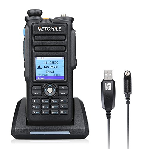 VETOMILE V-2017 Dual Band DMR Digital/Analog Two Way Radio 5W VHF 136-174MHZ & UHF 400-480MHz Walkie Talkie 3000 Channels IP67 Waterproof with GPS Function and Programming Cable by VETOMILE