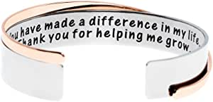 Ms. Clover Gifts for Teacher, What I Learned from You-Thank You for Helping Me Grow Hand Stamped Stainless Steel Cuff Bracelets, Teacher Gift, Graduation Gifts.