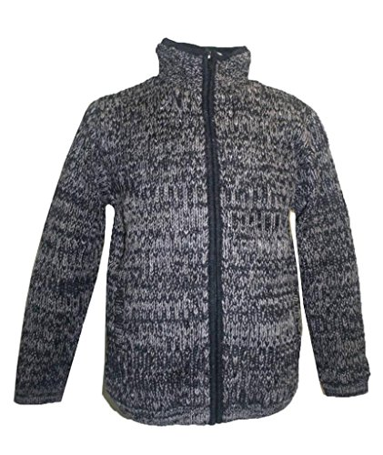 Agan Traders UF21 Unisex Lamb Wool Fleece Lined Sherpa Jacket Sweater (XX-Large, Charcoal/Brown)