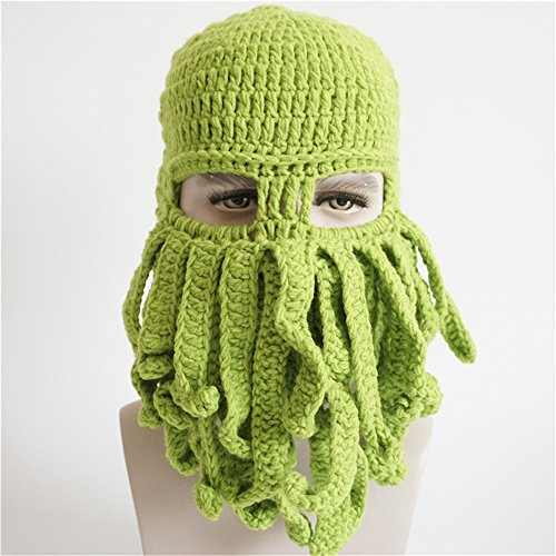 Nascar Halloween Costumes Toddler (Seeshine Halloween Funny Octopus Hat Beard Hat Beanie Hat Knit Hat Winter Warm Octopus Hat Windproof Funny for Men & Women (Green))