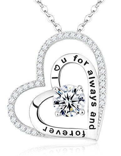 (Jewelry Love Heart Pendant April Birthstone Double Hearts Necklace Birthday for Her Engraved I Love You for Always and Forever Simulated Diamond Sterling Silver)