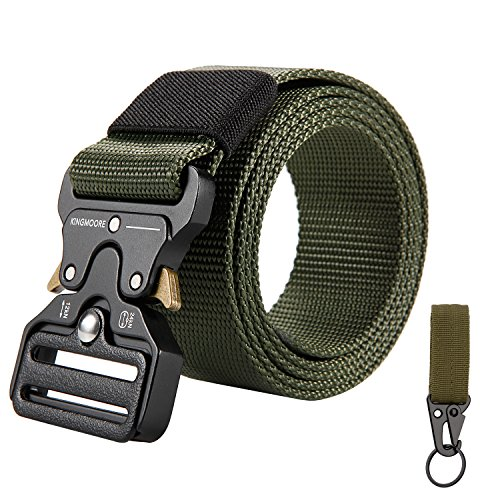(KingMoore Men's Tactical Belt Heavy Duty Webbing Belt Adjustable Military Style Nylon Belts with Metal Buckle)