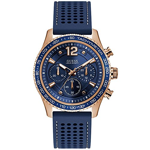 GUESS Men's Fleet 44mm Blue Rubber Band Steel Case Quartz Analog Watch W0971G3