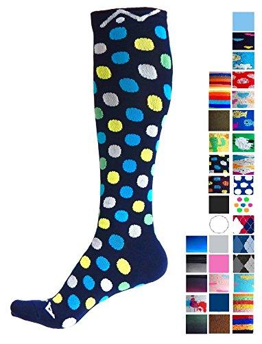 A-Swift Compression Socks for Women and Men - Ocean Dots, Medium