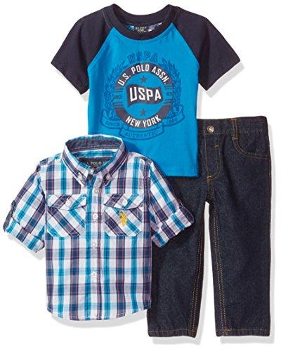 U.S. Polo Assn. Baby Boys' Sport Shirt, Creeper and Pant Set, 0682-Multi Plaid, - Us Sports Clothing