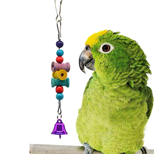 Pinata Spiked - Fewear Bell Bird Toy, Spiked Pinata Natural Bird Toy,Bird Hanging Shredding Swing Chew - Birds Ladder Bell Toys for Conure, Parakeets, Mynah, Cockatiel Macow, Coconut Bird, Love Birds (Multicolor B)